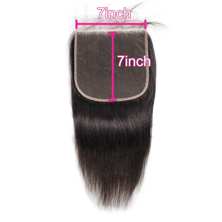 Raw Virgin Hair 7x7 Transparent Lace Closure Silky Straight