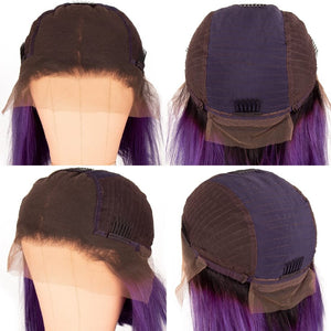 T1B/Purple 13X4 Lace Bob Wig Silky Straight