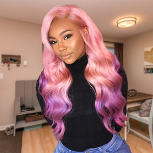 13x6 Lace Wig Body Wave Ombre #Pink/Purple