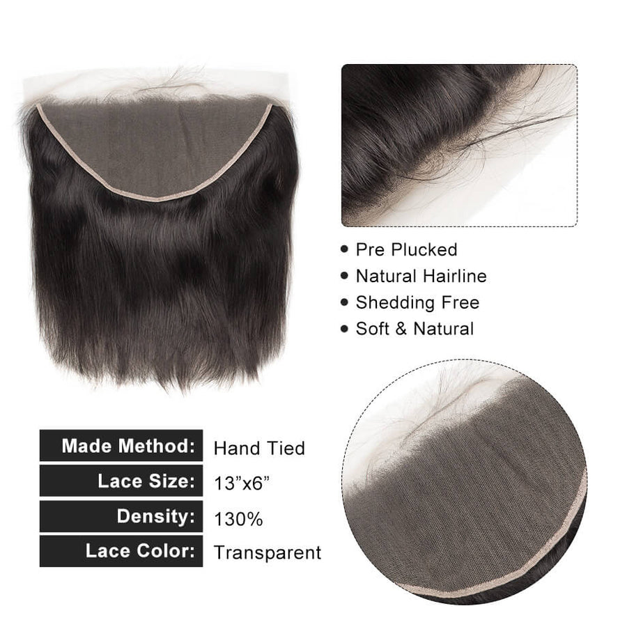 Raw Virgin Hair 13x6 Transparent Lace Frontal Silky Straight