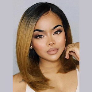 13x4 Lace Bob Wig Straight Brown Ombre #1B/27