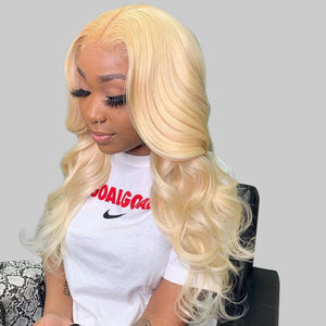 Long Blonde Human Hair T Part Lace Wig Body Wave