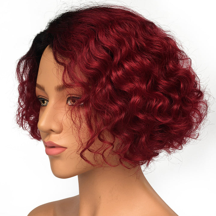 T Part Lace Wig Bob Wig Curly Hairstyle Burgundy