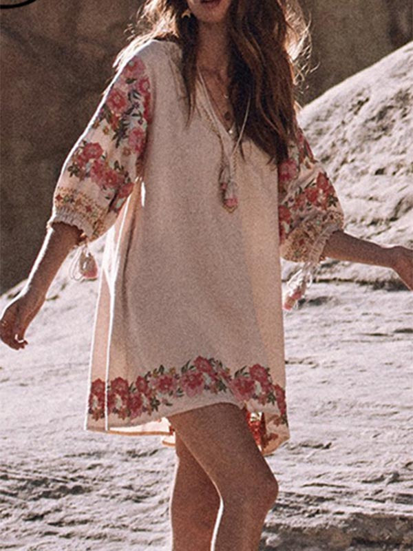 Women's Bohemian Embroidered Fringe Dress