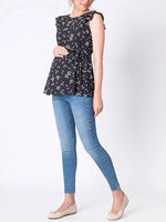 Load image into Gallery viewer, Maternity Daisy Flutter Sleeve Nursing Top