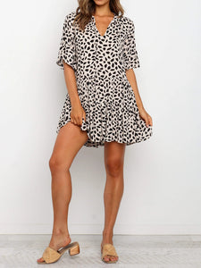 V Neck Print Babydoll Short Dress