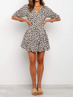 Load image into Gallery viewer, V Neck Print Babydoll Short Dress