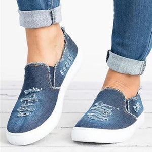 🎁NEW ARRIVAL🎁Women's easy wear Low Top Denim Flats