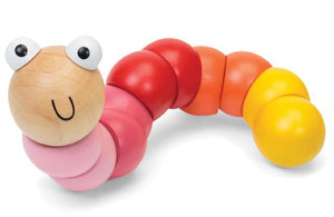 Wooden jointed worm - PINK