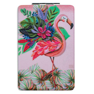 Pocket Compact Mirror - FLAMINGO