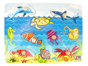 Wooden Peg Puzzle - SEA ANIMALS