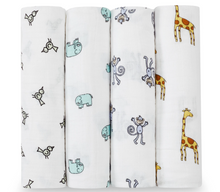 Load image into Gallery viewer, Cotton Muslin Swaddles 4 pack - JUNGLE JAM