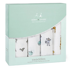 Cotton Muslin Swaddles 4 pack - JUNGLE JAM