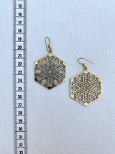 Load image into Gallery viewer, Hexagon Brass Earrings