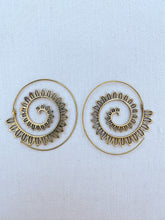 Load image into Gallery viewer, Sunrise Spiral Brass Earrings