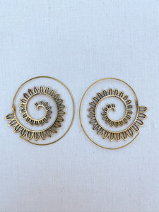 Sunrise Spiral Brass Earrings