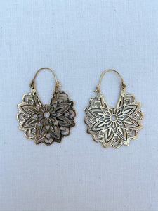 Dahlia Brass Hoop Earrings