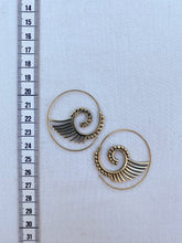 Load image into Gallery viewer, Wings Spiral Brass Earrings