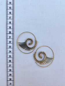 Wings Spiral Brass Earrings