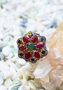 Shaan Ruby + Emerald + Diamond Ring