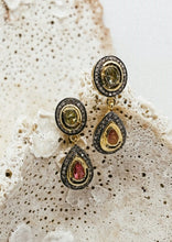 Load image into Gallery viewer, Saachi Tourmaline + Diamond Drop Earrings