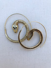 Load image into Gallery viewer, Snake Spiral Brass Earrings