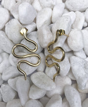Load image into Gallery viewer, Serpent Snake Brass Earrings