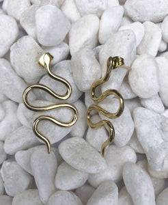 Serpent Snake Brass Earrings