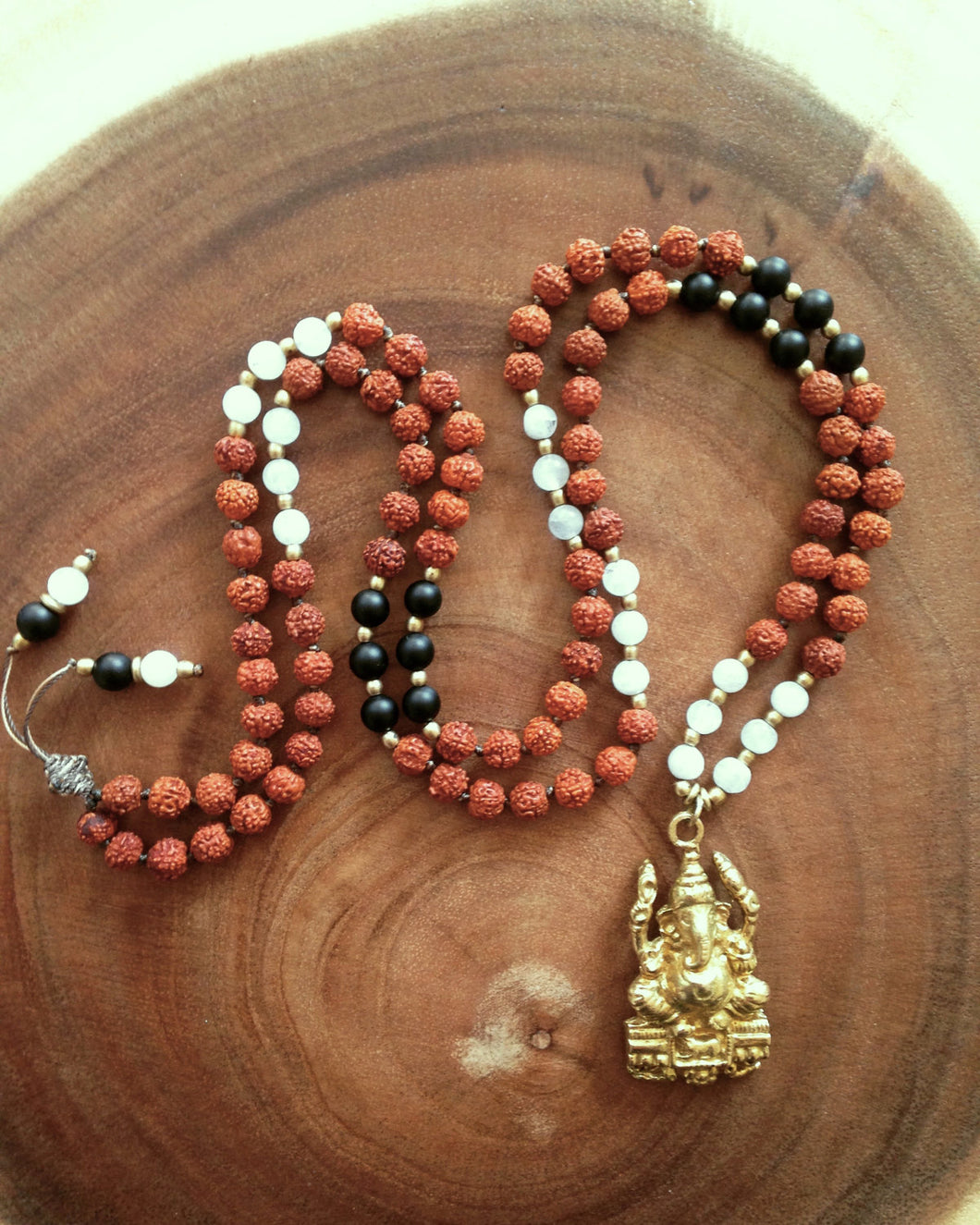 Yoga Mala Black Onyx Rainbow Moonstone Ganesh