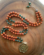 Load image into Gallery viewer, Yoga Mala | Green Aventurine Rudraksha Seed of Life Pendant Pendant Neckalce | 108 Beads