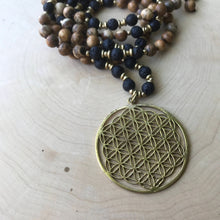Load image into Gallery viewer, Yoga Mala | Picture Jasper Lava Beads Flower of Life Pendant Pendant Neckalce | 108 Beads