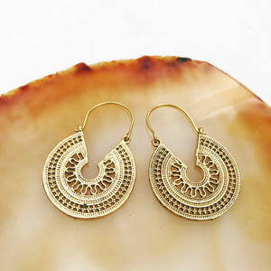 Hoop Mandala Geometric Brass Earrings
