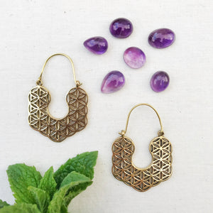 Seed of Life Brass Hoop Earrings