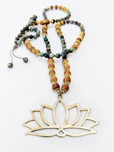 Yoga Mala | African Turquoise Sandalwood Lotus Pendant Necklace | 108 Beads