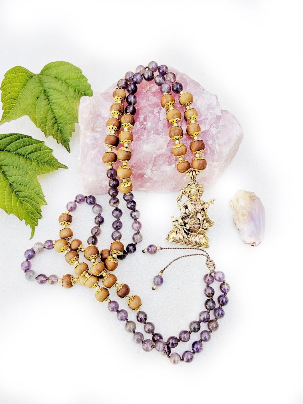 Yoga Mala | Amethyst Sandalwood Saraswati Pendant Necklace | 108 Beads
