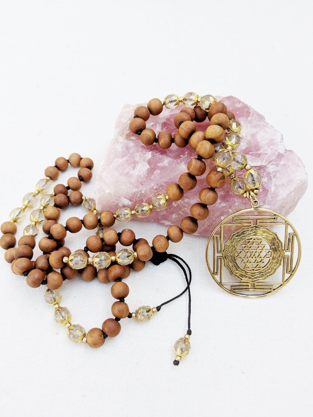 Yoga Mala | Rutilated Quartz Sandalwood Sri Yantra Mandala Pendant Necklace | 108 Beads