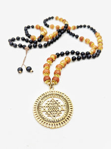 Yoga Mala | Black Onyx Sandalwood Sri Yantra Pendant Necklace | 108 Beads