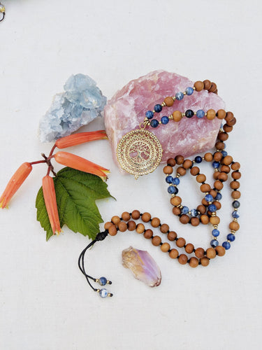 Yoga Mala | Sodalite Sandalwood Tree of Life Pendant Necklace | 108 Beads