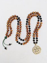 Load image into Gallery viewer, Yoga Mala | Black Lava Sandalwood Seed of Life Pendant Necklace | 108 Beads