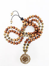 Load image into Gallery viewer, Yoga Mala | Agate Sandalwood Seed of Life Pendant Necklace | 108 Beads