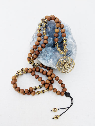Yoga Mala | Agate Sandalwood Seed of Life Pendant Necklace | 108 Beads