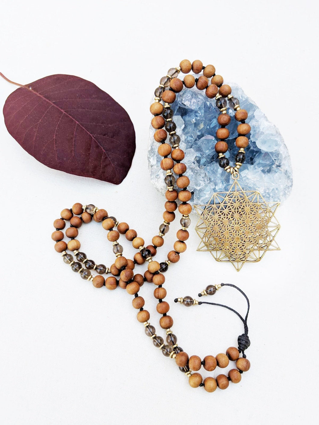 Yoga Mala | Smoky Quartz Sandalwood Sacred Geometry Pendant Necklace | 108 Beads