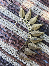Load image into Gallery viewer, Brass Ear Cuff | Tribal Solid Leaves | Ear Wrap