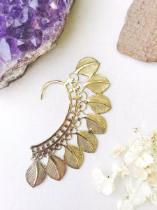 Brass Ear Cuff | Tribal Leaves | Ear Wrap