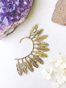 Brass Ear Cuff | Tribal Feather | Ear Wrap |