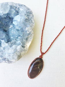Jasper Necklace | Micro Macrame | Handmade One of a Kind | Silver Accents
