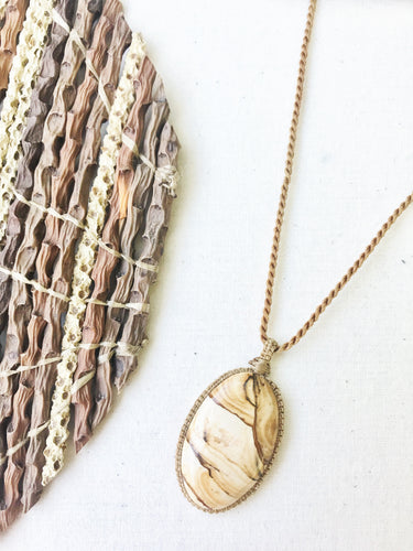 Picture Jasper Necklace | Micro Macrame | Handmade One of a Kind | Silver Accents