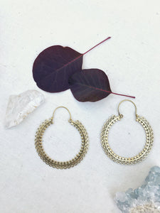 Large Indian Brass Hoop Earrings