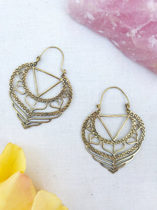 Goddess Within Brass Hoop Earrings