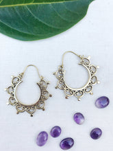 Load image into Gallery viewer, Joyful Mandala Brass Hoop Earrings